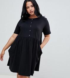Свободное платье мини на пуговицах с карманами ASOS DESIGN Curve - Черный