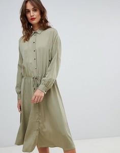 Повседневное платье-рубашка с затягивающимся шнурком Boss - Зеленый