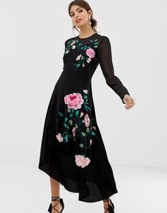 Платье миди с длинными рукавами и цветочной вышивкой ASOS DESIGN - Черный