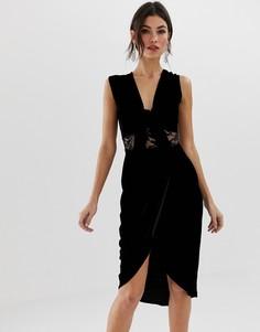 Кружевное платье миди с глубоким V-образным вырезом TFNC - Черный