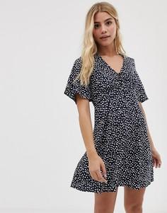 Чайное платье с завязкой и принтом Influence - Темно-синий