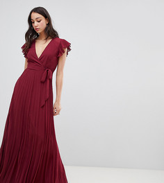 Плиссированное платье макси с рукавами клеш ASOS DESIGN TALL - Красный