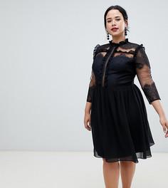 Черное платье миди с высоким воротником Chi Chi London Plus - Черный