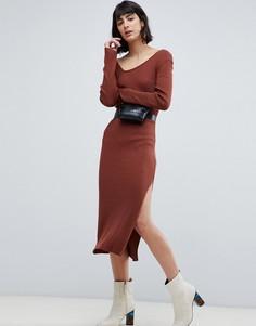 Платье миди в рубчик с асимметричной горловиной ASOS DESIGN - Красный