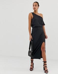 Платье миди с драпировкой ASOS DESIGN - Серый