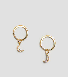 Покрытые 18-каратным золотом серьги-кольца с подвеской-полумесяцем Astrid & Miyu - Золотой
