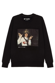 Черный свитшот с фотопринтом Crowned — Mick Jagger KO Samui