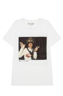 Белая футболка с фотопринтом Crowned — Mick Jagger KO Samui