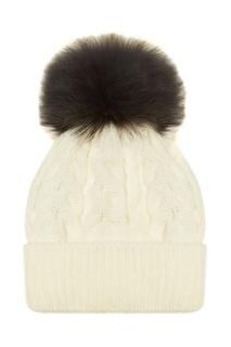 Белая шапка с черным помпоном Dreamfur