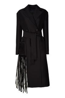 Черное пальто с бахромой Proenza Schouler