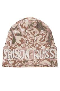 Розово-бежевая шапка с абстрактным узором 7КА