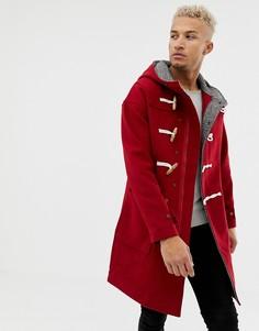 Красное шерстяное пальто с фиксаторами-тогл Pull&Bear - Красный