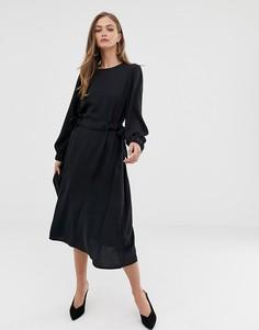 Платье миди со сборкой на талии ASOS DESIGN - Черный