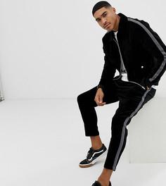 Черная вельветовая куртка Харрингтон с полосками по бокам Mauvais - Черный