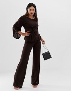 Комбинируемые трикотажные брюки шоколадного цвета с широкими штанинами Boohoo - Коричневый