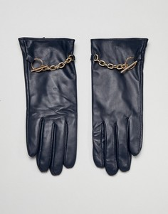 Перчатки из натуральной кожи с цепочкой Barneys Originals - Темно-синий