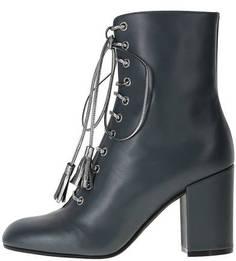 Высокие кожаные ботинки на устойчивом каблуке Pollini