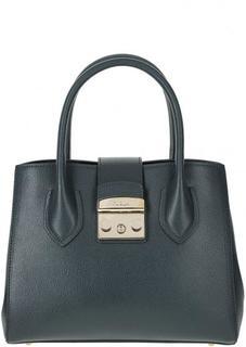 Бирюзовая кожаная сумка с короткими ручками Metropolis Furla