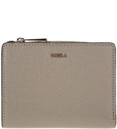 Серый кожаный кошелек с золотистой фурнитурой Babylon Furla