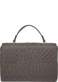 Коричневая стеганая сумка с короткой ручкой Love Moschino