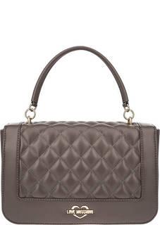 Стеганая сумка с широким плечевым ремнем Love Moschino