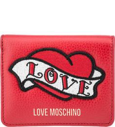 Красное кожаное портмоне с вышивкой Love Moschino