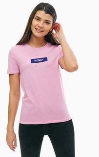 Розовая хлопковая футболка с принтом Only