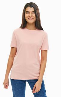 Розовая футболка из хлопка свободного кроя Selected