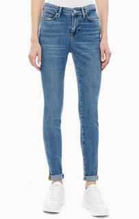 Синие джинсы скинни с заломами 1981 Guess