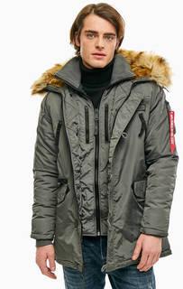 Удлиненная зимняя куртка серого цвета Alpha Industries