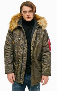 Удлиненная куртка с камуфляжным принтом Alpha Industries
