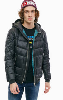 Короткая черная куртка-бомбер с капюшоном Diesel