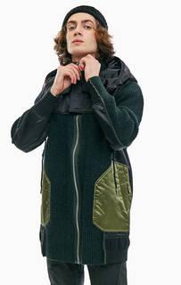 Легкая вязаная куртка с утепленными атласными вставками Diesel