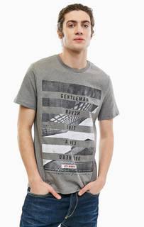 Серая хлопковая футболка с короткими рукавами Gas