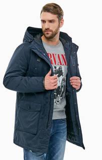 Удлиненная синяя куртка с капюшоном Replay