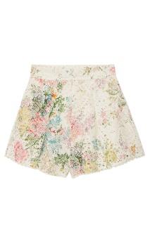 Хлопковые шорты с цветочным принтом Zimmermann