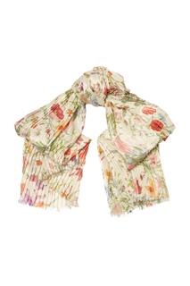 Белый шарф с цветочным принтом и люрексом Gucci