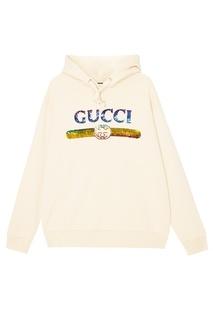 Белое худи с пайетками Gucci