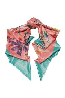 Бирюзово-розовый шарф с цветочным принтом Gucci