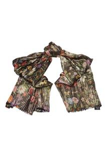 Черный шарф с цветочным принтом и люрексом Gucci