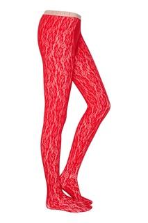 Красные кружевные колготки Gucci