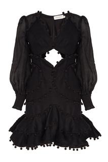 Черное платье мини с декором шариками Zimmermann