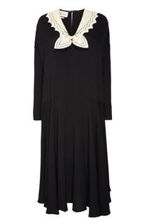 Черное платье с атласным воротником Gucci