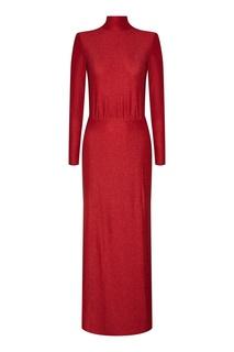 Красное платье макси с глиттером