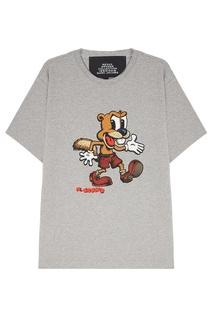 Хлопковая серая футболка с принтом Marc Jacobs