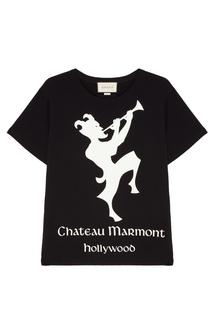 """Черная футболка с принтом """"Chateau Marmont"""" Gucci"""