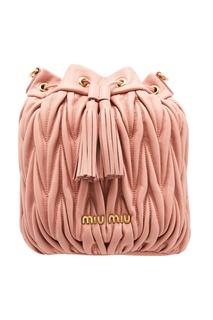 Розовая сумка-ведро Matelassé Miu Miu
