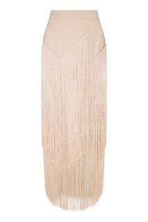 Пудровая юбка с бахромой Stella Mc Cartney