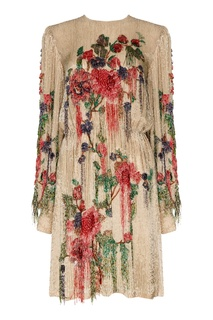Шелковое платье с вышивкой стеклярусом Gucci