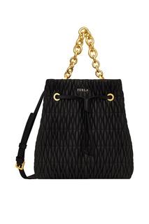 Черная стеганая сумка-торба Stacy Cometa Furla